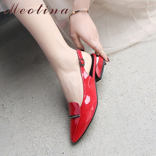 Patent Leather Sling-backed  Square Heel Shoes