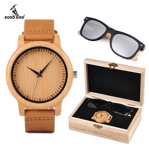 Bamboo Men Wooden Watch with  Sunglasses