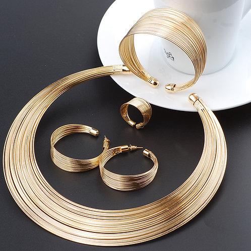 Gold Line Necklace Set