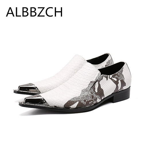 White Printed Leather Men's  Dress Shoes