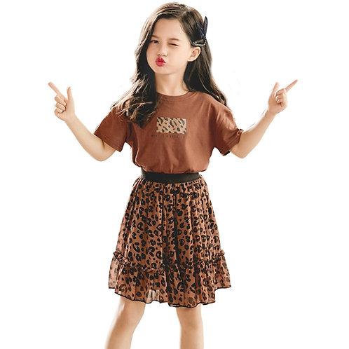Girls Leopard Print  T-shirt & Skirt