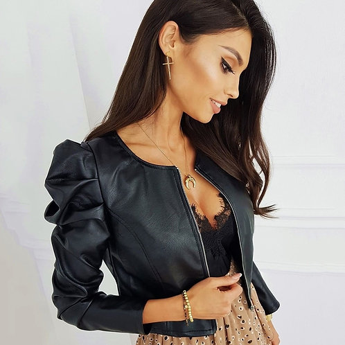 Black Faux Leather Jacket With Zipper