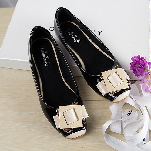 Cute Square Toe Vegan Leather Ballet Flats