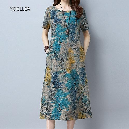 Vintage Print Dress - up to 5XL