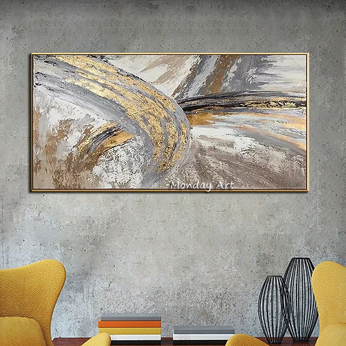 Handmade Modern Abstract Gold  Oil Painting on Canvas (Unframed)
