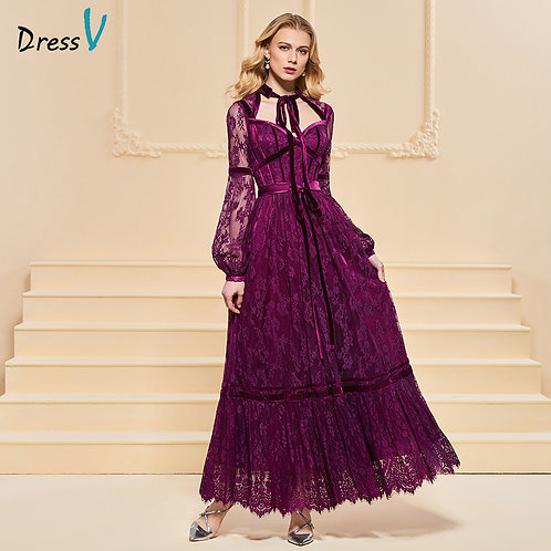 Long Sleeves Lace Ankle-Length Dress - up to 26W
