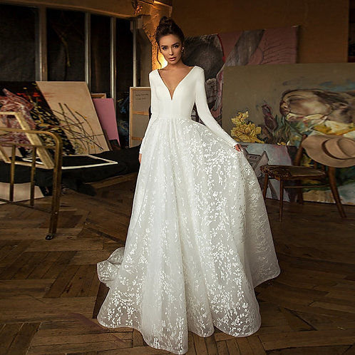 Long Sleeve Lace V-Neck Backless Satin Wedding Gown - up to 26W