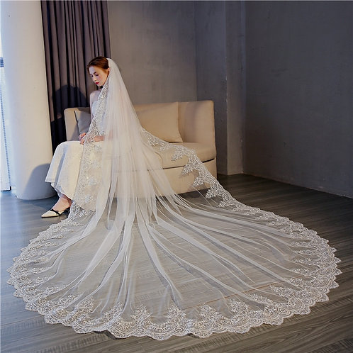 Cathedral Wedding Veils Long Lace Edge With Comb