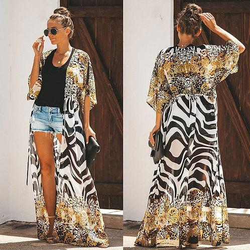 Bohemian Printed Long Chiffon Kimono