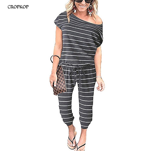 Black Striped Jumpsuit with One Shoulder