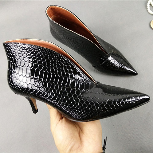 Snake Patent Leather Ankle Pumps