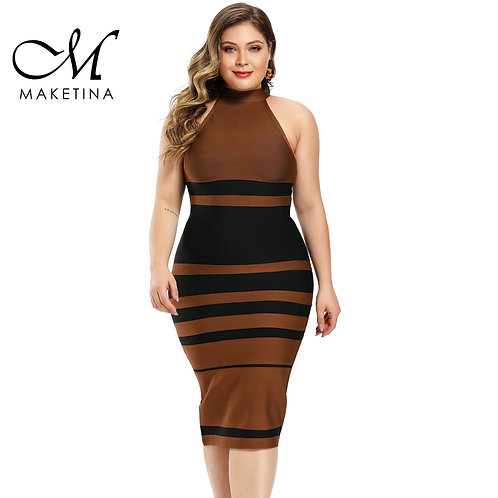Maketina Plus Size Women Round Neck Bandage Dress con