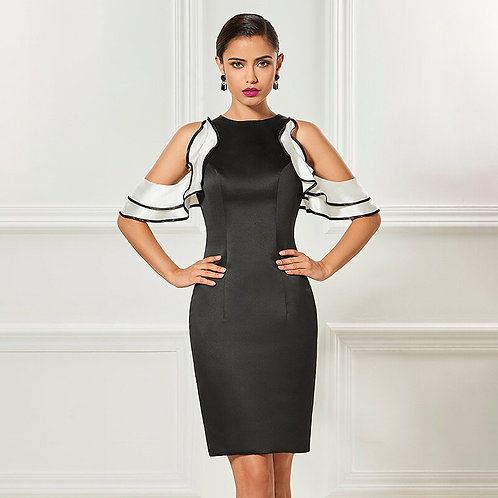 Sexy Black Cocktail Dress with Ruffles