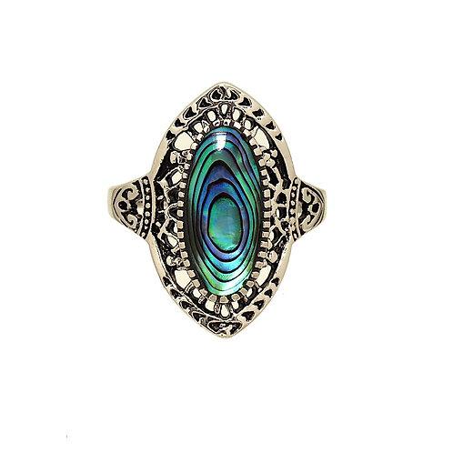 Antique Finish Genuine Abalone Rhodium Plated Ring