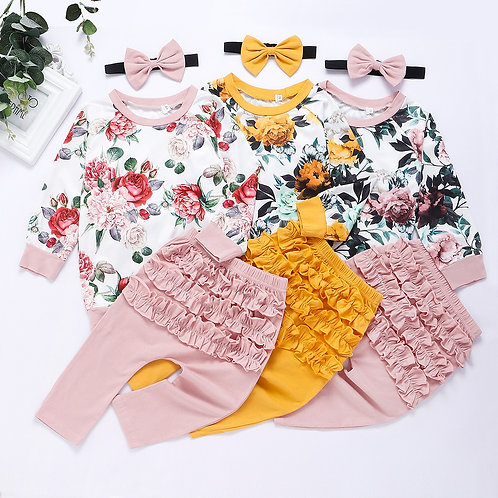Baby Girl  Flower Top &Ruffle Pants with Headband