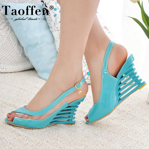 Buckle Open Toe High Wedge Shoes