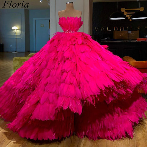 Luxury Fuchsia Feather  Strapless  Ball Gown  With Sash