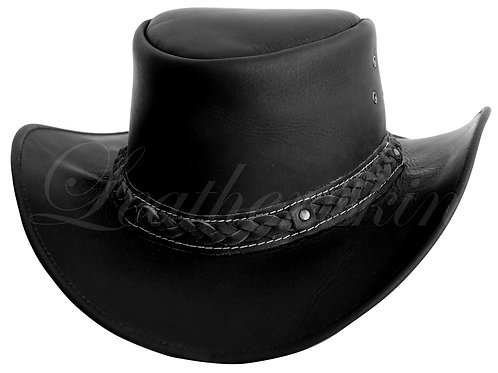Men Handmade Black Leather Hat