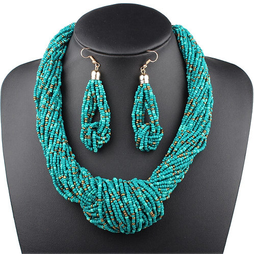 Bohemian Handmade Knot Necklace and Earrings Set