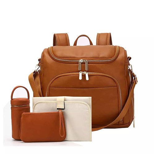Vegan Leather Baby Diaper Bag Backpack - 4 pieces