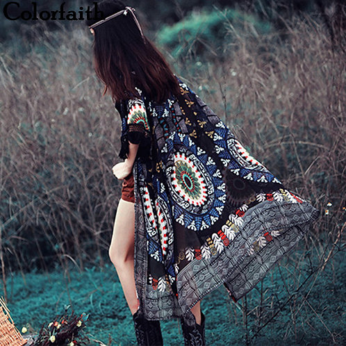 Vintage Tribal Chiffon  Printed Kimono