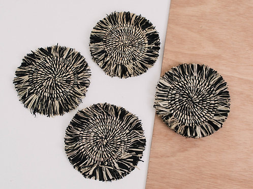 Fringed Black Coasters - Set of 4