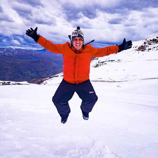 Felicidade na neve no Chile