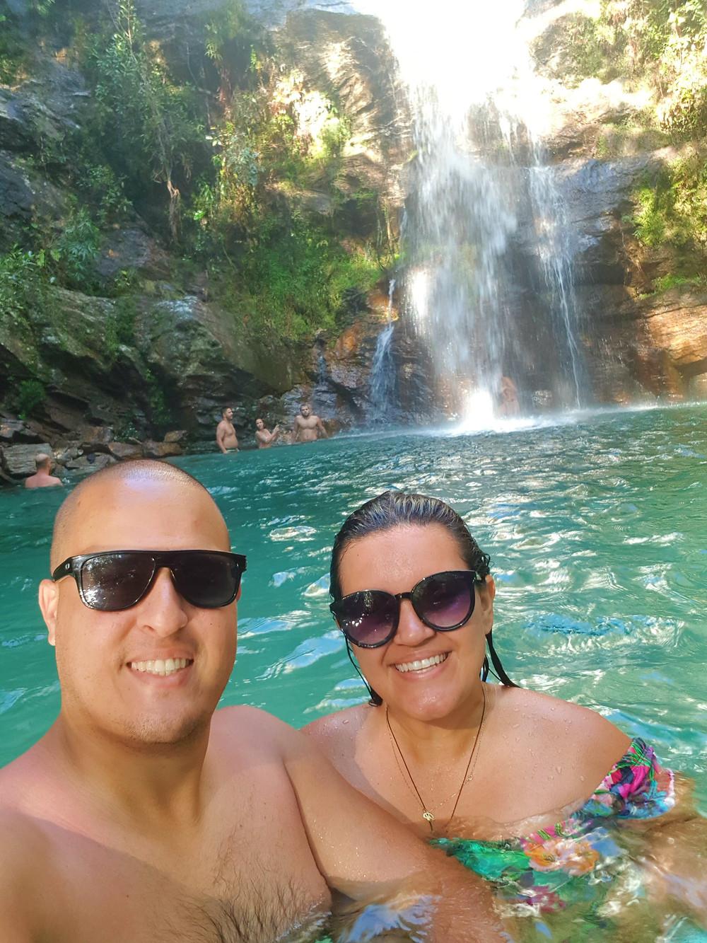 Famosa cachoeira de Santa Bárbara na Chapada dos Veadeiros