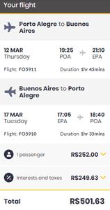 passagens aéreas porto alegre para buenos aires