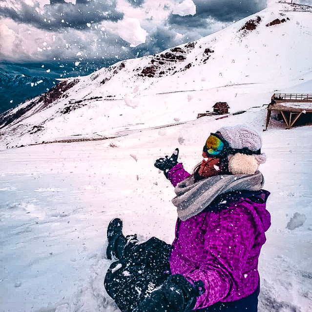 Brincando na neve no Chile