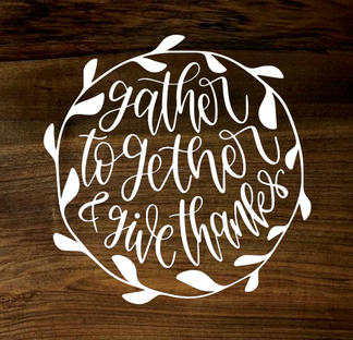 gather together & give thanks (wood panel)