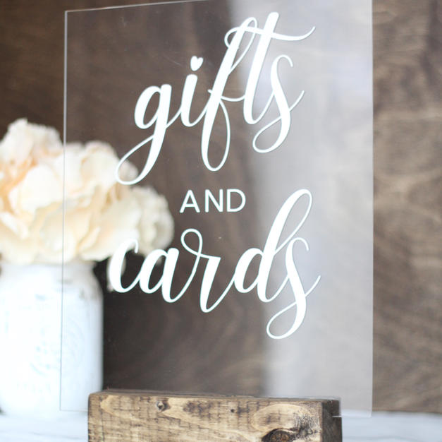 acrylic sign - gifts & cards