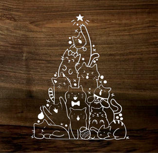 kitty christmas tree (wood panel)