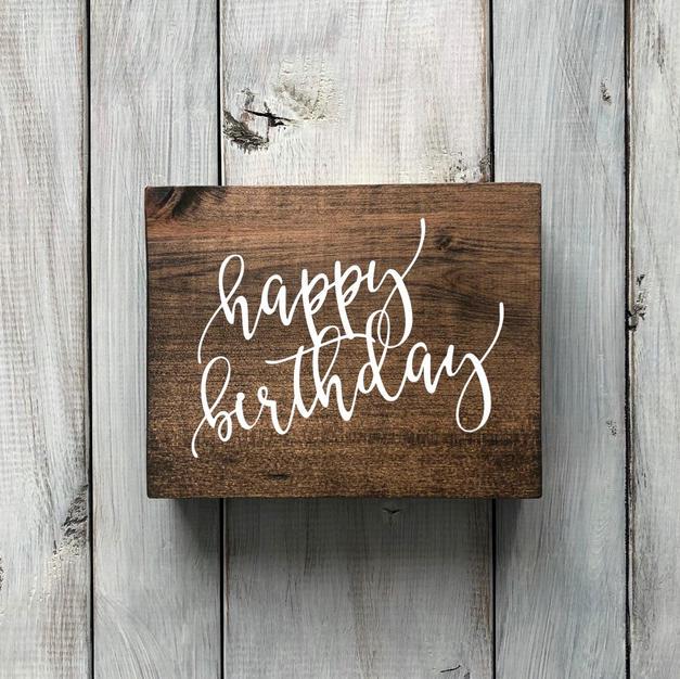 wood sign - happy birthday