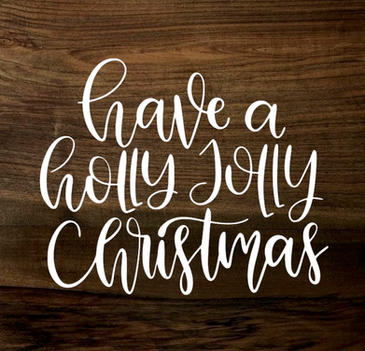 holly jolly christmas (wood panel)