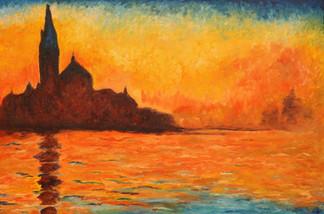 reproduction of san giorgio maggiore at dusk