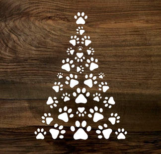 paw print christmas tree (wood panel)