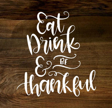 eat, drink and be thankful (wood panel)