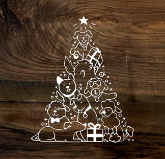 furry christmas tree (wood panel)