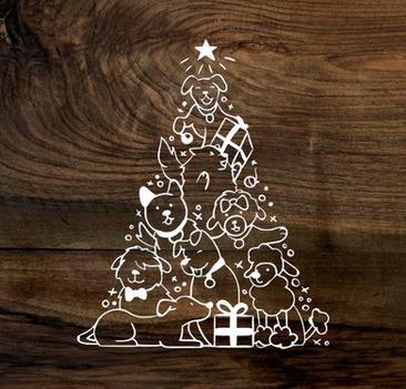 furry christmas tree (wood panel)