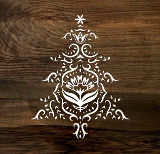 flourish chirstmas tree (wood panel)