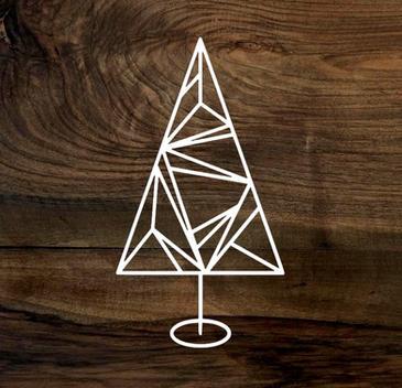 geometric christmas tree (wood panel)