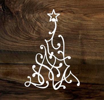 swirl christmas tree (wood panel)