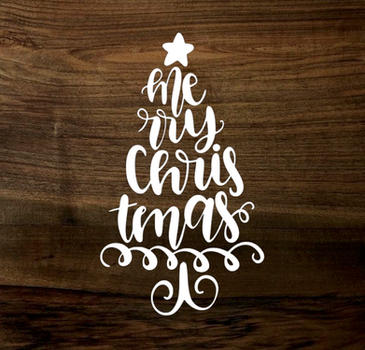 merry christmas tree (wood panel)
