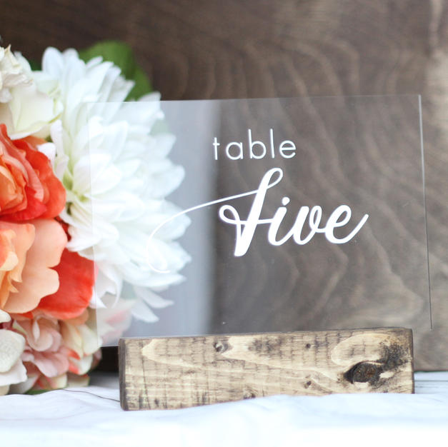 acrylic sign - table numbers