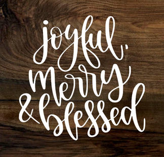 joyful, merry & blessed (wood panel)
