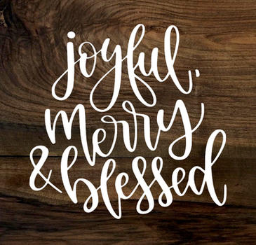 joyful, merry & blessed (wood panel)