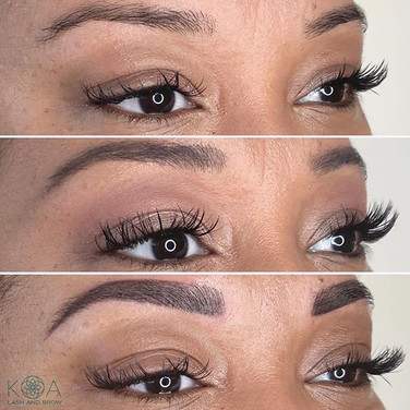 Powder brows plus hairstrokes in front