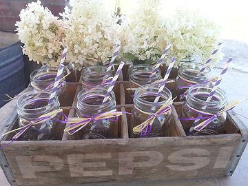 Mason Jars with straws and Hydrangeas