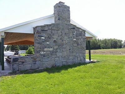 Stone fireplace pavilion